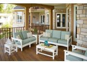 Recycled Earth-Friendly 5-Piece Outdoor Furniture Set - White with Spa Cushions