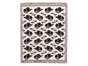 """Black Country Western Hats n' Spurs Two-Layer Afghan Throw Blanket 48"""" x 60"""""""