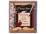 """Teacher Classroom """"Work of the Heart"""" Decorative Afghan Throw Blanket 50"""" x 60"""""""