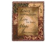 """Live For Today Fringed Afghan Throw Blanket 60"""" x 50"""""""
