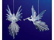"""Club Pack of 16 Icy Crystal Religious Christmas Flying Angel Ornaments 7.5"""""""