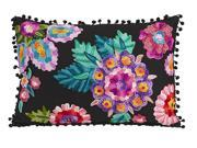 "20"" Lola Black Rectangular Throw Pillow with Vibrant Embroidered Floral Design"