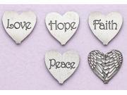 """Club Pack of 100 Religious Inspirational Angel Wing Heart Pocket Tokens 1"""""""