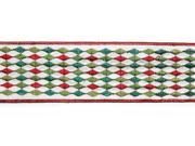 "Ivory, Red and Green Diamond Floral, Craft and Christmas Ribbon 2.5"" x 10 Yards"