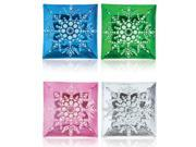 Pack of 8 Blue, Green, Pink & Clear Square Snowflake Christmas Dinner Plates 13""