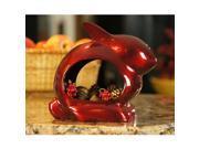 "8.5"" Handcrafted Ruby Red Enchanted Bunny Rabbit Design Outdoor Patio and Garden Bird Feeder"