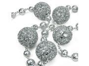 """68"""" Silver Beaded and Glittered Christmas Tinsel Ball Garland"""