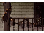 9' Pre-lit Black Gauze Fabric Novelty Halloween Garland - Orange Lights