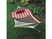 """76"""" x 52"""" Cotton Rope Single 2-Point  Hammock Stand, Red Pad and Pillow Combo"""