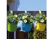 """Set of 3 Yellow, Green and Blue Brightly Colored Hanging Planters with Hooks 11"""""""