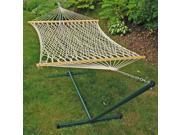 """76"""" x 52"""" Natural Cotton Rope 2-Point Single Hammock and Stand Combination"""