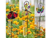 """Set of 3 Glittered Garden Butterfly, Dragonfly and Lady Bug Garden Stakes with Rain Gauges 37"""""""