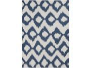 9' x 13' Diamond Melts White and Cobalt Reversible Hand Woven Wool Area Throw Rug