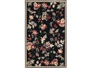2' x 2.75' Raspberry Blossom Caviar Black & Wine Hand Hooked Wool Area Throw Rug
