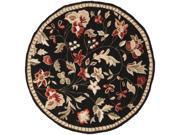 4' Raspberry Blossom Caviar Black and Wine Hand Hooked Round Wool Area Throw Rug