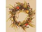 """Pack of 3 Artificial Fiery Orange and Yellow Pomegranate and Fall Grass Pillar Candle Rings 6"""""""