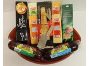 Holiday Superbowl Football Party Favorites Gourmet Sausage, Cheese and Cracker Gift Basket