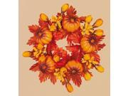 Pack of 8 Thanksgiving Fall Harvest Leaf and Mini Pumpkin Votive Candle Rings 2""