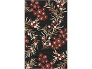 2' x 3' Blooming Sakura Caviar Black and Ruby Wine Red Hand Hooked Area Throw Rug