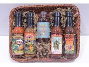 Holiday Party Gourmet Fiery Hot Sauce Connoisseur Sampler Gift Basket