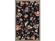 2.5' x 4' Raspberry Blossom Caviar Black & Wine Hand Hooked Wool Area Throw Rug