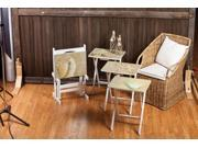 """Set of 4 """"Seashore Splendor"""" Decoupage Style TV Trays with Convenient Stand"""