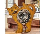 """14"""" Hand Sculpted Country Rustic Distressed Finish Cat Table Top Figure Fan"""