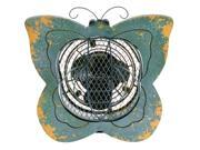 """11.25"""" Hand Sculpted Country Rustic Distressed Butterfly Table Top Figure Fan"""
