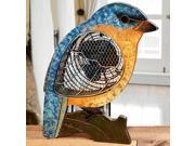 """15.5"""" Hand Sculpted Country Rustic Distressed Finish Bluebird Table Top Figure Fan"""