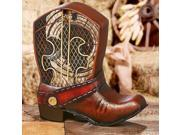 """10.75"""" Hand Sculpted Country Rustic Cowboy Boot Table Top Figure Fan"""