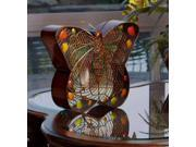 "15.25"" Hand Sculpted Metal Mesh Butterfly Table Top Figure Fan"