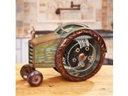 """13.5"""" Hand Sculpted Wooden Distressed Finish Tractor Table Top Figure Fan"""