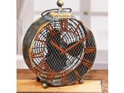 """20.5"""" Hand Sculpted Distressed Finish Antique-Style Clock Table Top Figure Fan"""