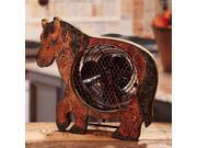 """12.25"""" Hand Sculpted Country Rustic Distressed Finish Horse Table Top Figure Fan"""