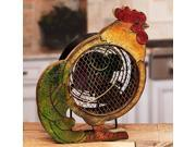 """12.5"""" Hand Sculpted Country Rustic Distressed Finish Rooster Table Top Figure Fan"""