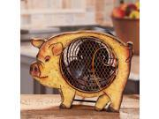 """12.25"""" Hand Sculpted Country Rustic Distressed Finish Pig Table Top Figure Fan"""