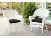 Set of 2 White Resin Wicker Outdoor Patio Garden Chairs - Black Cushions