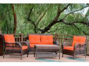 4-Piece Espresso Resin Wicker Outdoor Patio Conversation Furniture Set - Orange Cushions