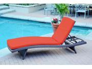 2 Adjustable Espresso Resin Wicker Outdoor Patio Chaise Lounge Chairs - Red Cushions