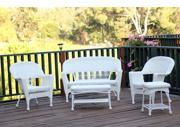 5-Piece Flynn White Wicker Patio Chair, Loveseat and Table Furniture Set