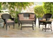 5-Piece Espresso Resin Wicker Patio Chair, Loveseat & Table Furniture Set - Brown Cushions