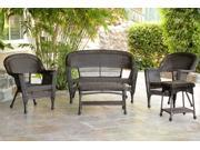 5-Piece Espresso Resin Wicker Patio Chairs, Loveseat and End Table Furniture Set