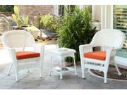 3-Piece White Resin Wicker Patio Chairs and End Table Furniture Set - Orange Cushions