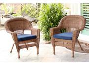 Set of 4 Honey Brown Resin Wicker Outdoor Patio Garden Chairs - Blue Cushions