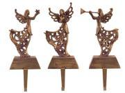Set of 3 Bronze Musical Angels Christmas Stocking Holder Decorations 13""
