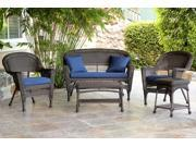 4-Piece Espresso Wicker Patio Chairs, Loveseat & Table Furniture Set - Blue Cushions