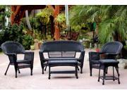 5-Piece Black Resin Wicker Patio Chair, Loveseat and Table Furniture Set