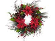 Set of 2 Artificial Mixed Pine, Red Burlap Poinsettia and Pine Cone Christmas Wreaths 27""