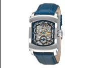 Stuhrling Original Classic Metropolis Midtown Banker Men's Skeleton Dial Leather Strap Analog Watch 317.3315C6