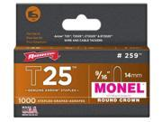 Arrow Fastener 259M T25 9/16 Inch (14mm) Monel Staples, 1000/Pk